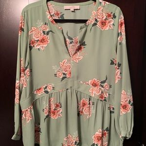 LOFT mint green blouse
